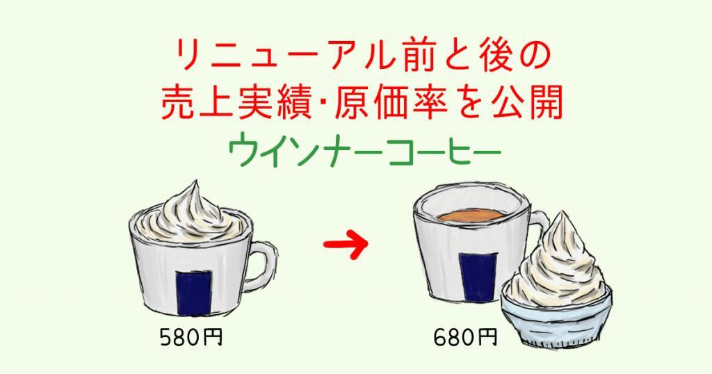 ウインナーコーヒーの売上実績・原価率を公開